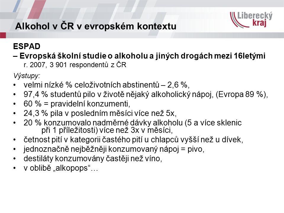 Alkohol v ČR v evropském kontextu ESPAD – Evropská školní studie o alkoholu a jiných drogách mezi 16letými r. 2007, 3 901 respondentů z ČR Výstupy: ve