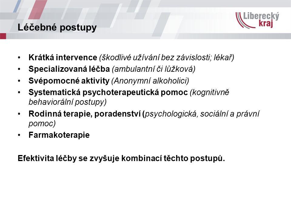 Léčebné postupy Krátká intervence (škodlivé užívání bez závislosti; lékař) Specializovaná léčba (ambulantní či lůžková) Svépomocné aktivity (Anonymní