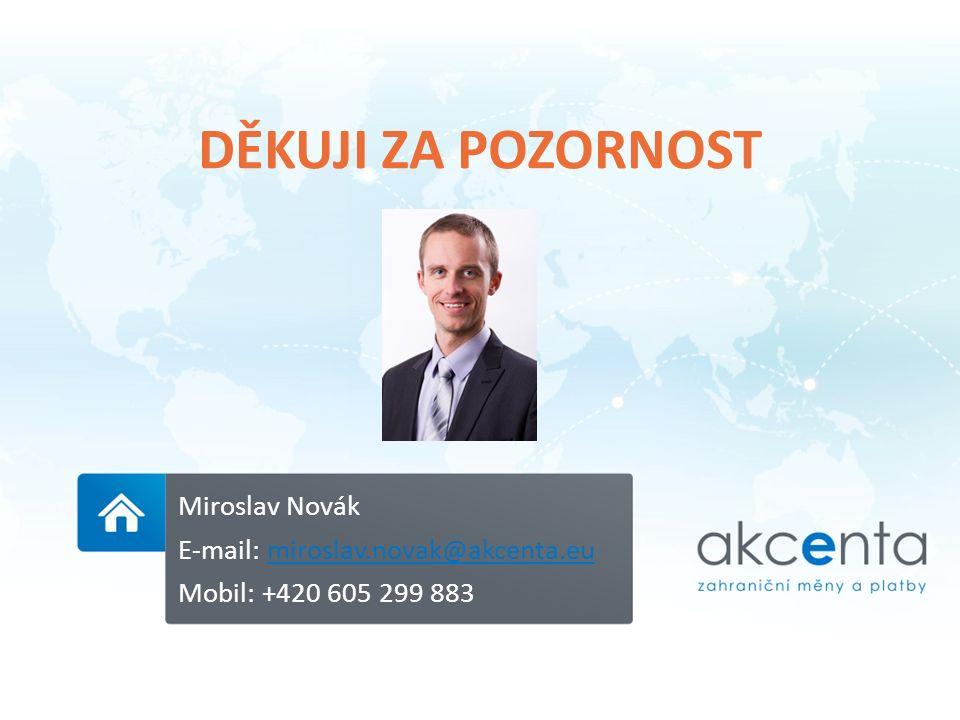 DĚKUJI ZA POZORNOST Miroslav Novák E-mail: miroslav.novak@akcenta.eumiroslav.novak@akcenta.eu Mobil: +420 605 299 883