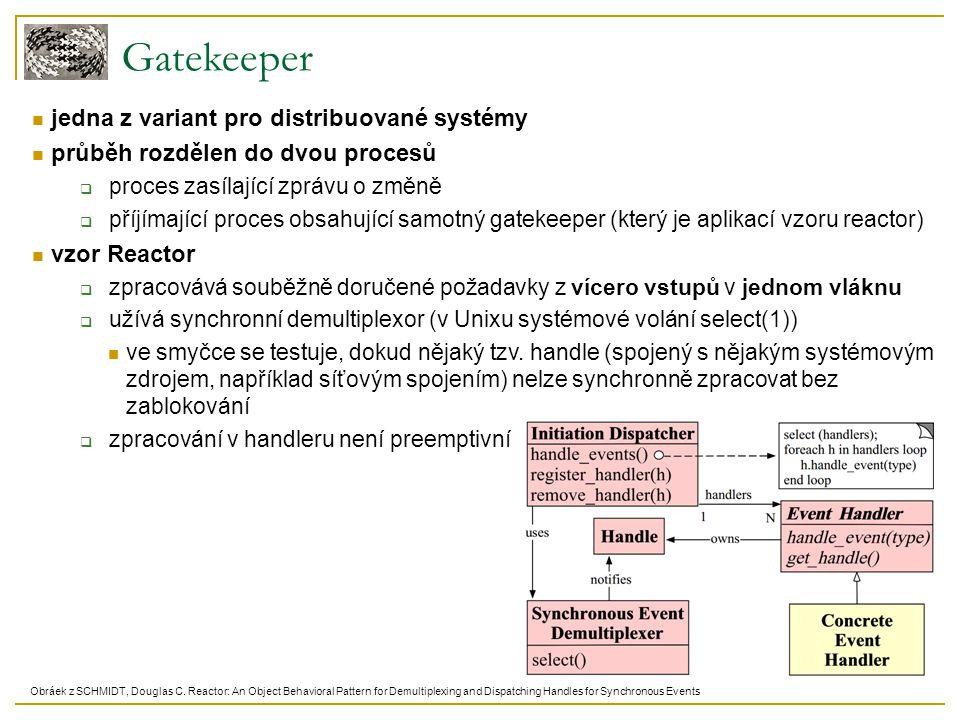 Gatekeeper jedna z variant pro distribuované systémy průběh rozdělen do dvou procesů  proces zasílající zprávu o změně  příjímající proces obsahující samotný gatekeeper (který je aplikací vzoru reactor) vzor Reactor  zpracovává souběžně doručené požadavky z vícero vstupů v jednom vláknu  užívá synchronní demultiplexor (v Unixu systémové volání select(1)) ve smyčce se testuje, dokud nějaký tzv.