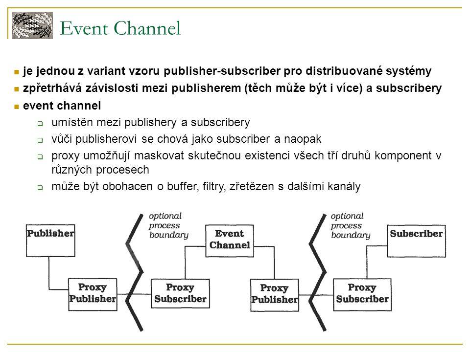 Event Channel je jednou z variant vzoru publisher-subscriber pro distribuované systémy zpřetrhává závislosti mezi publisherem (těch může být i více) a subscribery event channel  umístěn mezi publishery a subscribery  vůči publisherovi se chová jako subscriber a naopak  proxy umožňují maskovat skutečnou existenci všech tří druhů komponent v různých procesech  může být obohacen o buffer, filtry, zřetězen s dalšími kanály
