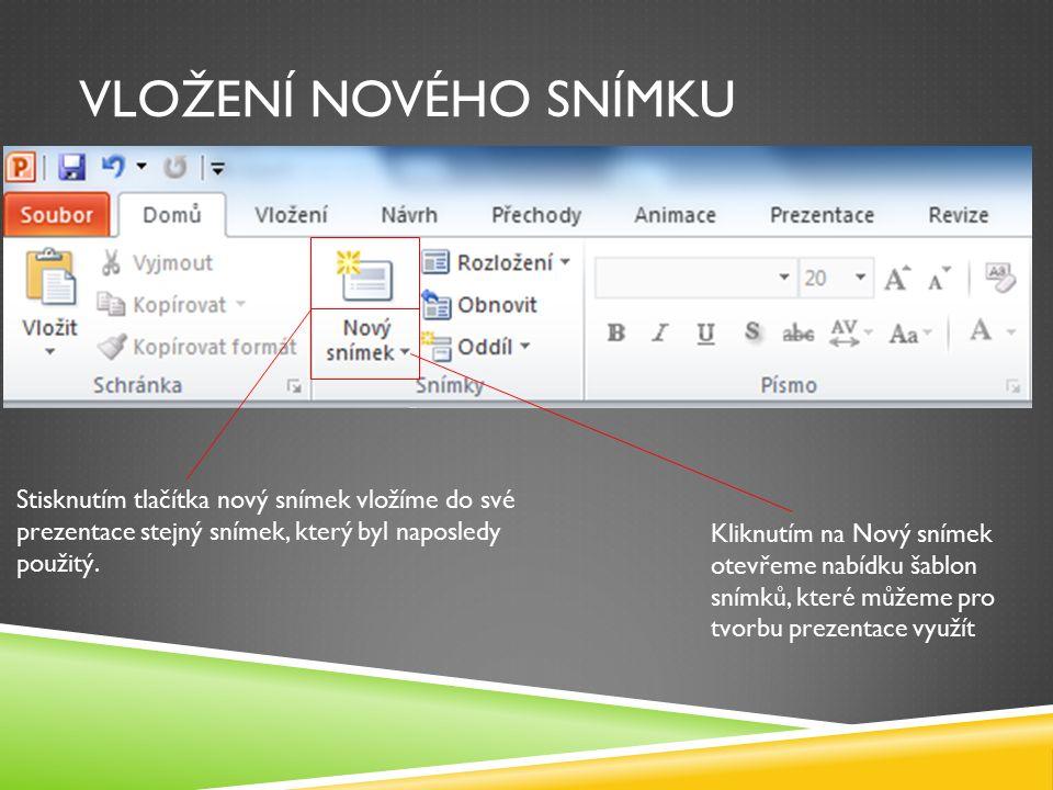 VLOŽENÍ NOVÉHO SNÍMKU Stisknutím tlačítka nový snímek vložíme do své prezentace stejný snímek, který byl naposledy použitý.