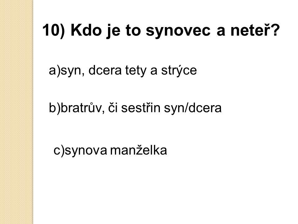 9) Může jít v ČR muž na rodičovskou dovolenou a) ano b) ne c) možná
