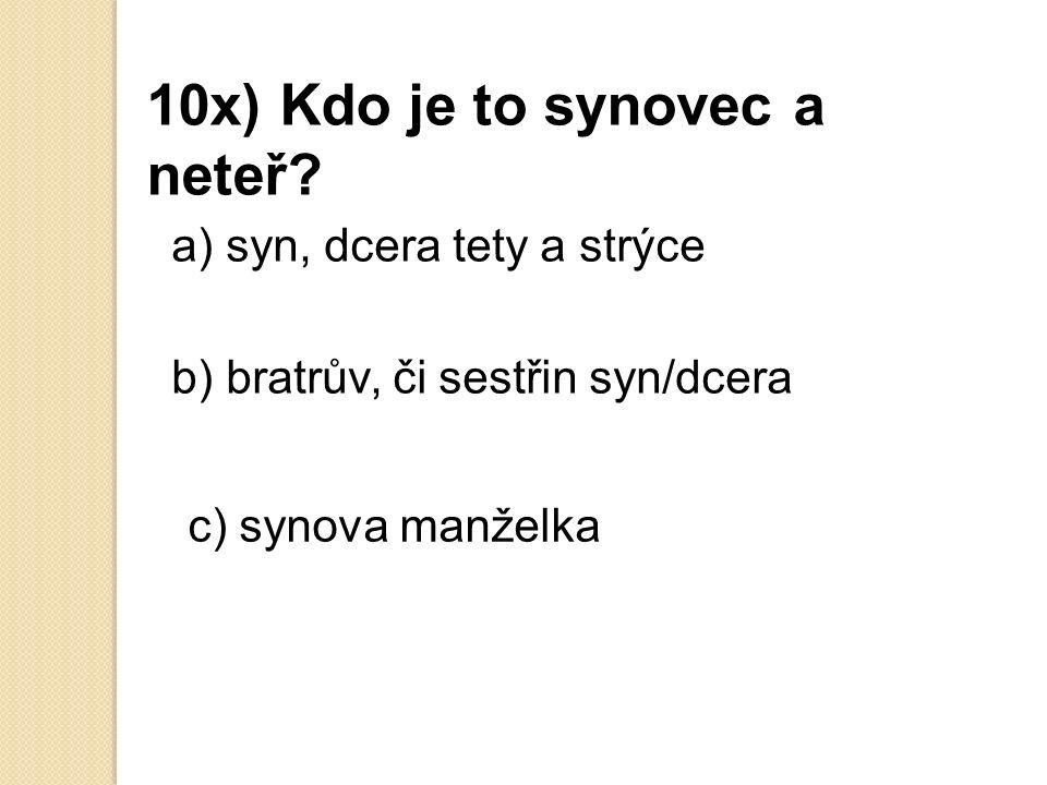9x) Může jít v ČR muž na rodičovskou dovolenou a) ano b) ne c) možná