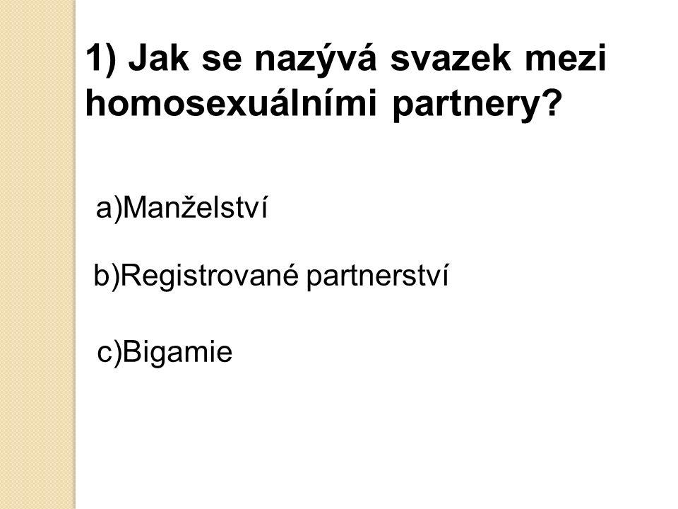 1) Jak se nazývá svazek mezi homosexuálními partnery.