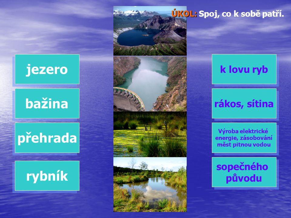 ÚKOL: ÚKOL: Spoj, co k sobě patří. jezero bažina přehrada rybník k lovu ryb rákos, sítina Výroba elektrické energie, zásobování měst pitnou vodou Výro