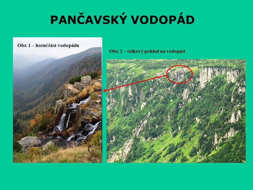 PANČAVSKÝ VODOPÁD Obr. 1 – horní část vodopádu Obr. 2 – celkový pohled na vodopád