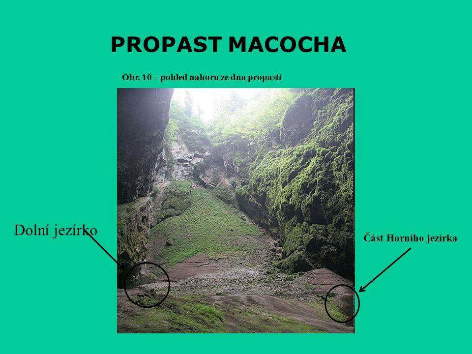 PROPAST MACOCHA Obr. 10 – pohled nahoru ze dna propasti Dolní jezírko Část Horního jezírka