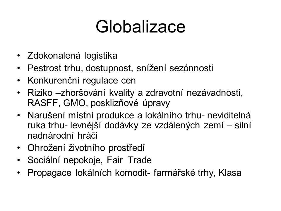 Globalizace Zdokonalená logistika Pestrost trhu, dostupnost, snížení sezónnosti Konkurenční regulace cen Riziko –zhoršování kvality a zdravotní nezávadnosti, RASFF, GMO, posklizňové úpravy Narušení místní produkce a lokálního trhu- neviditelná ruka trhu- levnější dodávky ze vzdálených zemí – silní nadnárodní hráči Ohrožení životního prostředí Sociální nepokoje, Fair Trade Propagace lokálních komodit- farmářské trhy, Klasa