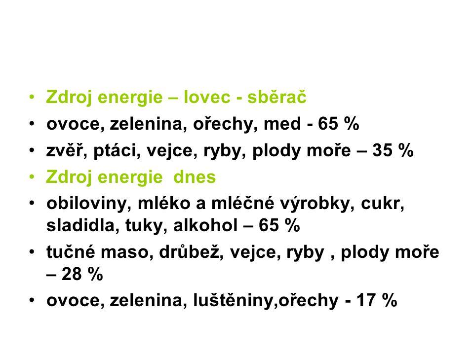 Zdroj energie – lovec - sběrač ovoce, zelenina, ořechy, med - 65 % zvěř, ptáci, vejce, ryby, plody moře – 35 % Zdroj energie dnes obiloviny, mléko a mléčné výrobky, cukr, sladidla, tuky, alkohol – 65 % tučné maso, drůbež, vejce, ryby, plody moře – 28 % ovoce, zelenina, luštěniny,ořechy - 17 %