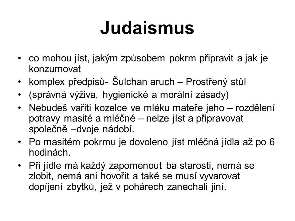 Judaismus co mohou jíst, jakým způsobem pokrm připravit a jak je konzumovat komplex předpisů- Šulchan aruch – Prostřený stůl (správná výživa, hygienic
