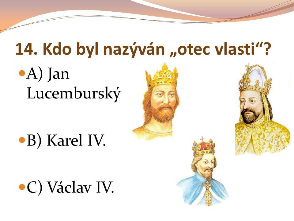 """14. Kdo byl nazýván """"otec vlasti""""? A) Jan Lucemburský B) Karel IV. C) Václav IV."""