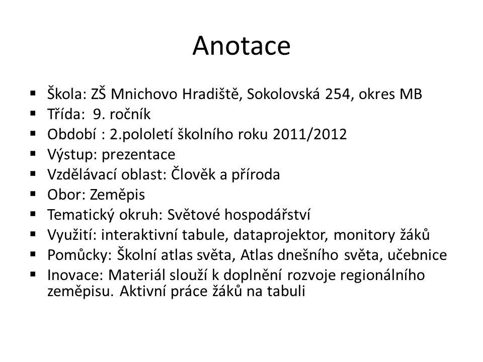 Anotace  Škola: ZŠ Mnichovo Hradiště, Sokolovská 254, okres MB  Třída: 9.