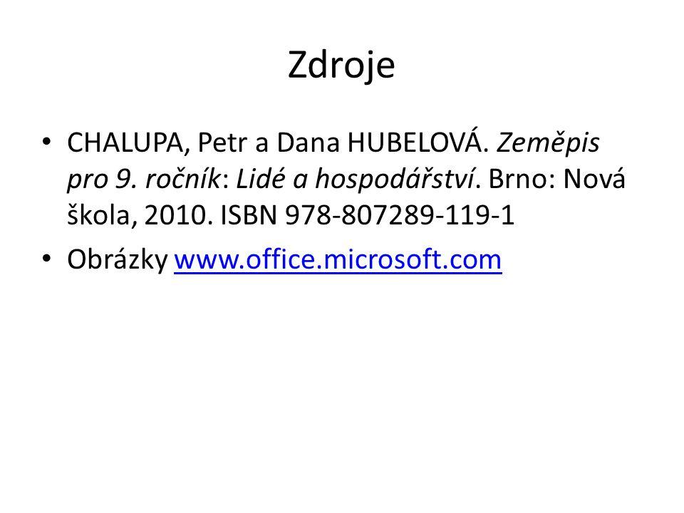 Zdroje CHALUPA, Petr a Dana HUBELOVÁ. Zeměpis pro 9.