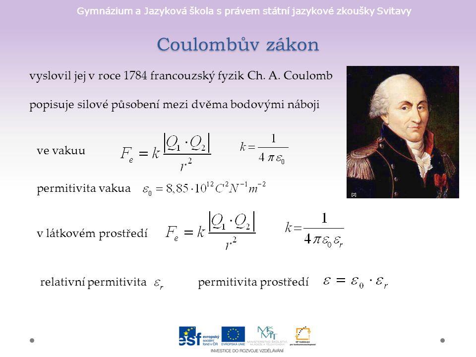Gymnázium a Jazyková škola s právem státní jazykové zkoušky Svitavy Coulombův zákon vyslovil jej v roce 1784 francouzský fyzik Ch.