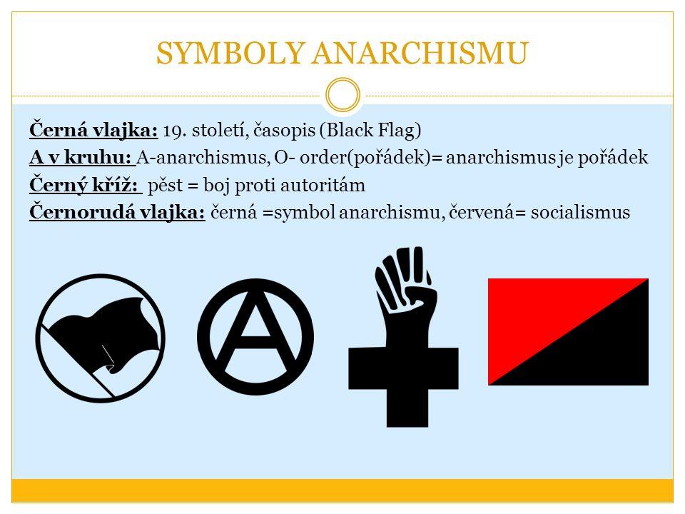 SYMBOLY ANARCHISMU Černá vlajka: 19. století, časopis (Black Flag) A v kruhu: A-anarchismus, O- order(pořádek)= anarchismus je pořádek Černý kříž: pěs