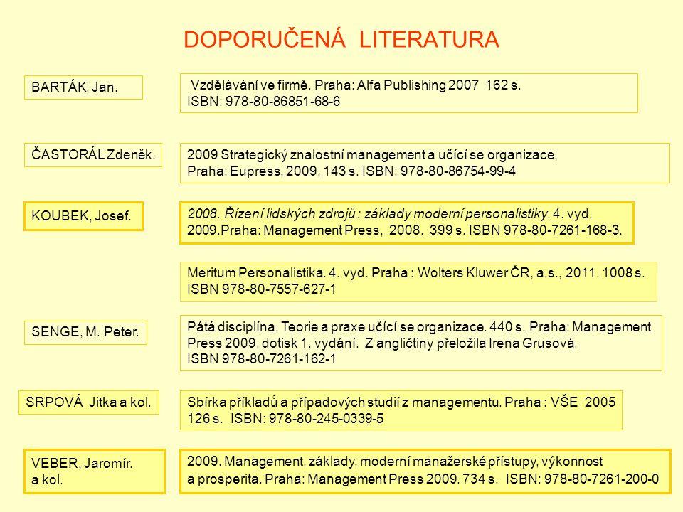DOPORUČENÁ LITERATURA ČASTORÁL Zdeněk.2009 Strategický znalostní management a učící se organizace, Praha: Eupress, 2009, 143 s.
