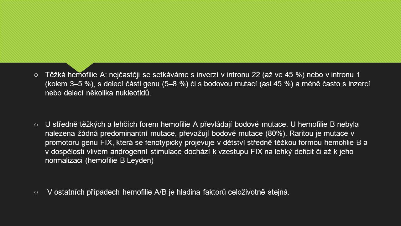 ○Těžká hemofilie A: nejčastěji se setkáváme s inverzí v intronu 22 (až ve 45 %) nebo v intronu 1 (kolem 3–5 %), s delecí části genu (5–8 %) či s bodovou mutací (asi 45 %) a méně často s inzercí nebo delecí několika nukleotidů.