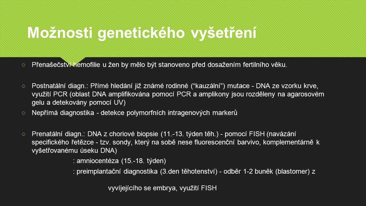 Možnosti genetického vyšetření ○Přenašečství hemofilie u žen by mělo být stanoveno před dosažením fertilního věku.