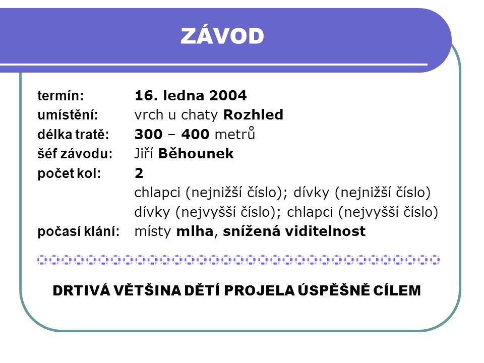 ZÁVOD termín: 16. ledna 2004 umístění: vrch u chaty Rozhled délka tratě: 300 – 400 metrů šéf závodu: Jiří Běhounek počet kol: 2 chlapci (nejnižší čísl