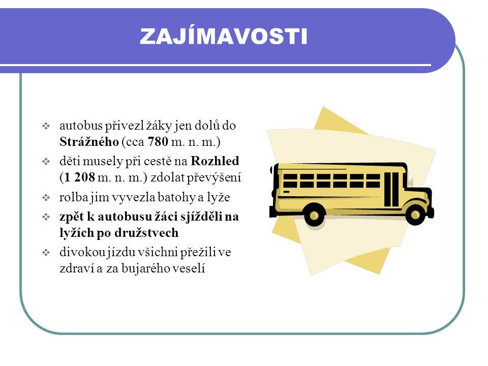 ZAJÍMAVOSTI  autobus přivezl žáky jen dolů do Strážného (cca 780 m. n. m.)  děti musely při cestě na Rozhled (1 208 m. n. m.) zdolat převýšení  rol