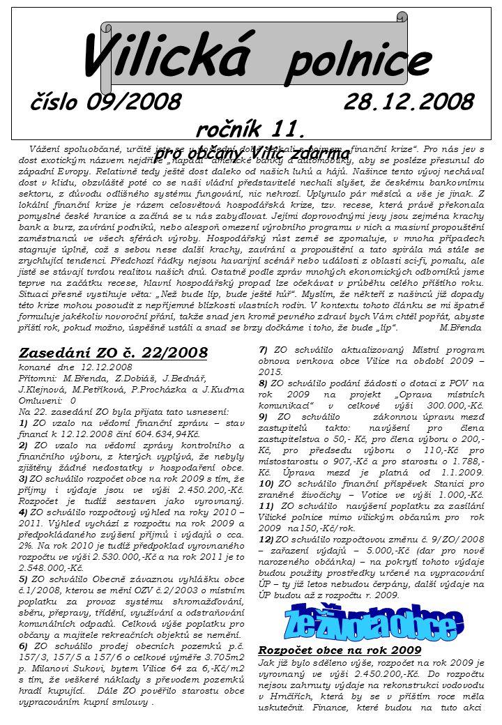 Vilická polnice číslo 09/2008 28.12.2008 ročník 11.