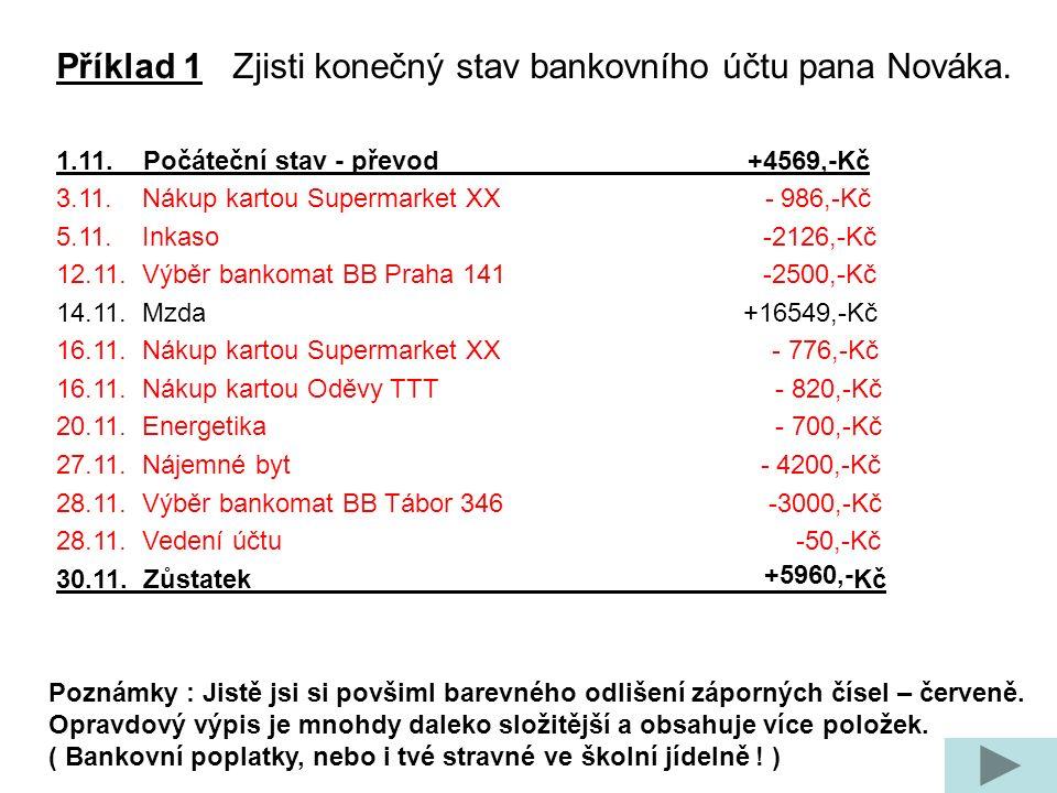 Příklad 1 Zjisti konečný stav bankovního účtu pana Nováka. 1.11. Počáteční stav - převod +4569,-Kč 3.11. Nákup kartou Supermarket XX - 986,-Kč 5.11. I