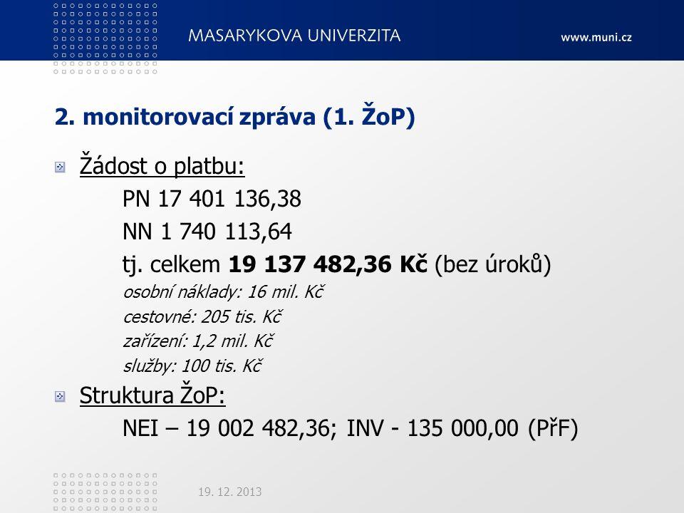 2. monitorovací zpráva (1. ŽoP) Žádost o platbu: PN 17 401 136,38 NN 1 740 113,64 tj.
