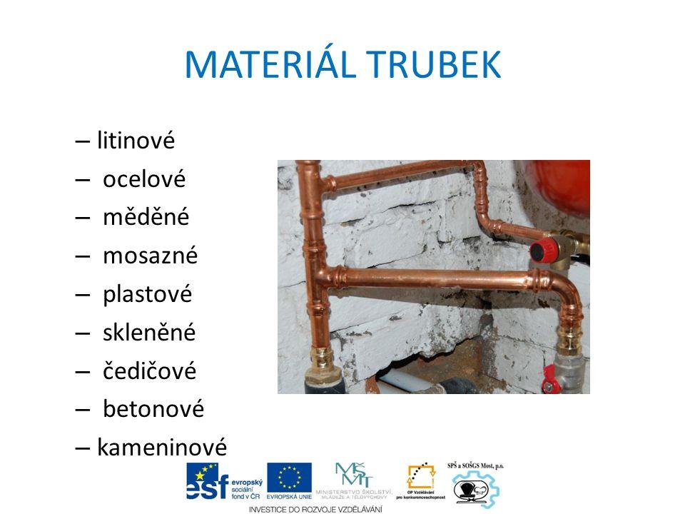 MATERIÁL TRUBEK – litinové – ocelové – měděné – mosazné – plastové – skleněné – čedičové – betonové – kameninové