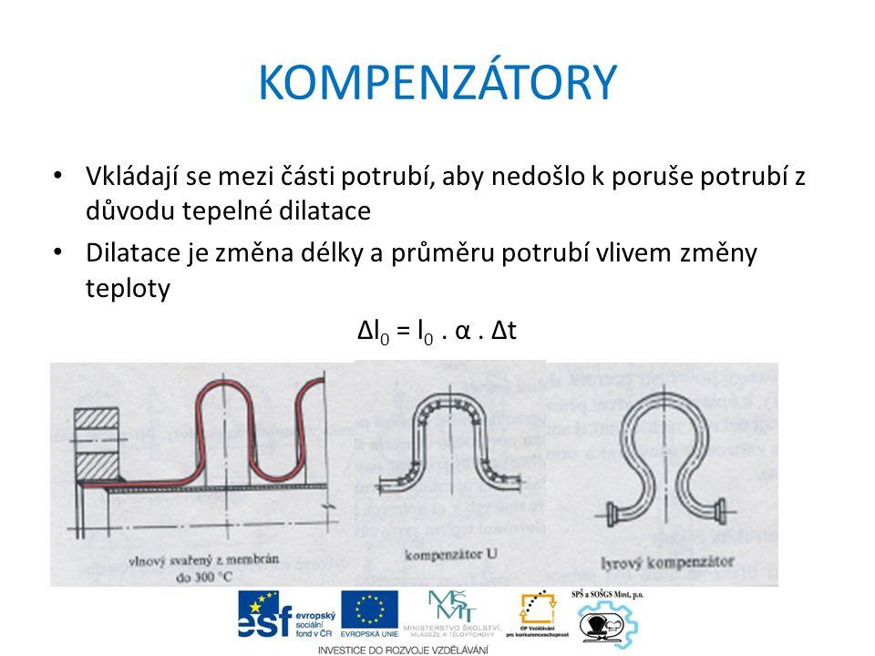 KOMPENZÁTORY Vkládají se mezi části potrubí, aby nedošlo k poruše potrubí z důvodu tepelné dilatace Dilatace je změna délky a průměru potrubí vlivem z