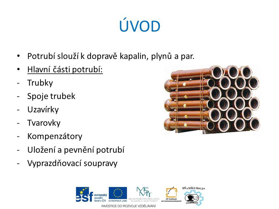 ÚVOD Potrubí slouží k dopravě kapalin, plynů a par. Hlavní části potrubí: -Trubky -Spoje trubek -Uzavírky -Tvarovky -Kompenzátory -Uložení a pevnění p