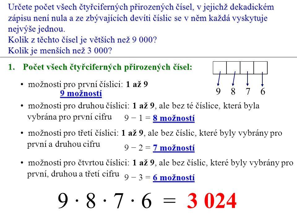 Určete počet všech čtyřciferných přirozených čísel, v jejichž dekadickém zápisu není nula a ze zbývajících devíti číslic se v něm každá vyskytuje nejvýše jednou.