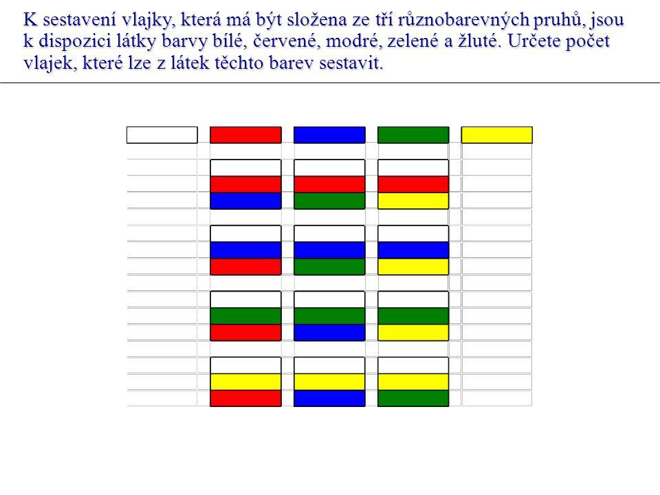 K sestavení vlajky, která má být složena ze tří různobarevných pruhů, jsou k dispozici látky barvy bílé, červené, modré, zelené a žluté.