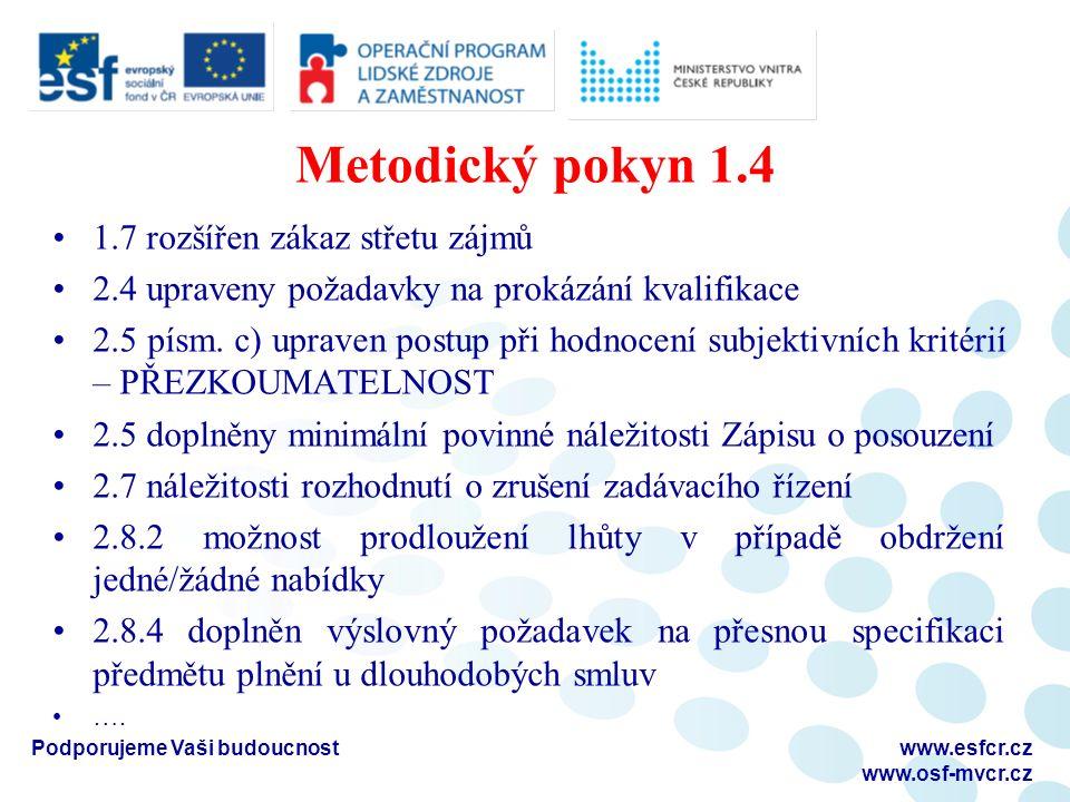 Metodický pokyn 1.4 1.7 rozšířen zákaz střetu zájmů 2.4 upraveny požadavky na prokázání kvalifikace 2.5 písm. c) upraven postup při hodnocení subjekti