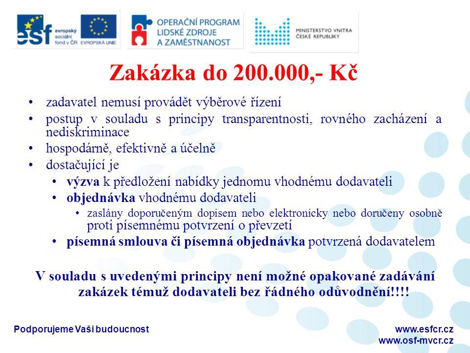 Zakázka do 200.000,- Kč zadavatel nemusí provádět výběrové řízení postup v souladu s principy transparentnosti, rovného zacházení a nediskriminace hos