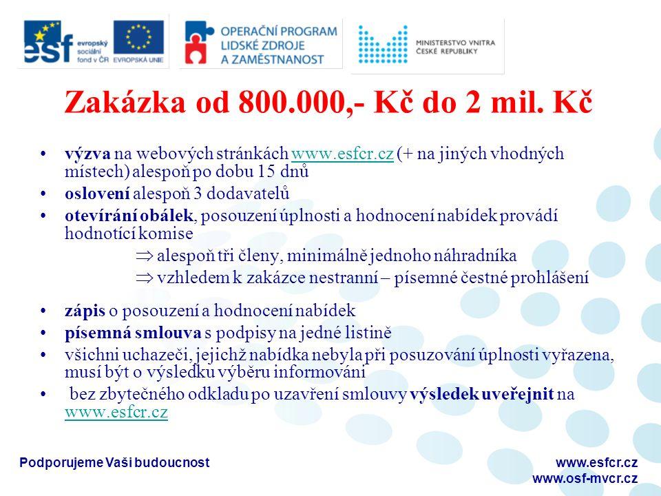 Zakázka od 800.000,- Kč do 2 mil. Kč výzva na webových stránkách www.esfcr.cz (+ na jiných vhodných místech) alespoň po dobu 15 dnůwww.esfcr.cz oslove