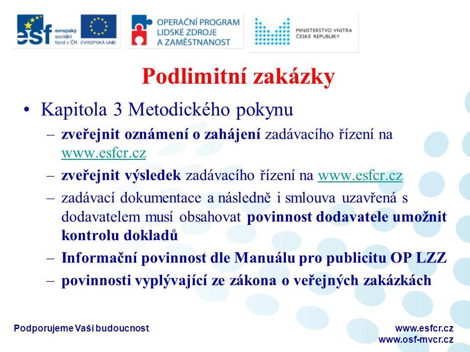 Podlimitní zakázky Kapitola 3 Metodického pokynu –zveřejnit oznámení o zahájení zadávacího řízení na www.esfcr.cz www.esfcr.cz –zveřejnit výsledek zad