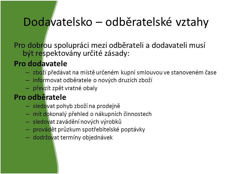 Dodavatelsko – odběratelské vztahy Pro dobrou spolupráci mezi odběrateli a dodavateli musí být respektovány určité zásady: Pro dodavatele – zboží před