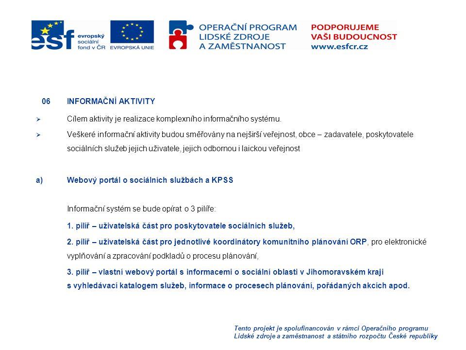 Tento projekt je spolufinancován v rámci Operačního programu Lidské zdroje a zaměstnanost a státního rozpočtu České republiky 06 INFORMAČNÍ AKTIVITY  Cílem aktivity je realizace komplexního informačního systému.