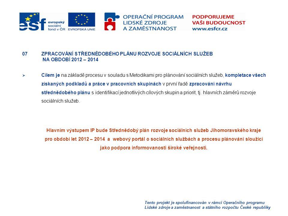 Tento projekt je spolufinancován v rámci Operačního programu Lidské zdroje a zaměstnanost a státního rozpočtu České republiky 07ZPRACOVÁNÍ STŘEDNĚDOBÉHO PLÁNU ROZVOJE SOCIÁLNÍCH SLUŽEB NA OBDOBÍ 2012 – 2014  Cílem je na základě procesu v souladu s Metodikami pro plánování sociálních služeb, kompletace všech získaných podkladů a práce v pracovních skupinách v první řadě zpracování návrhu střednědobého plánu s identifikací jednotlivých cílových skupin a priorit, tj.