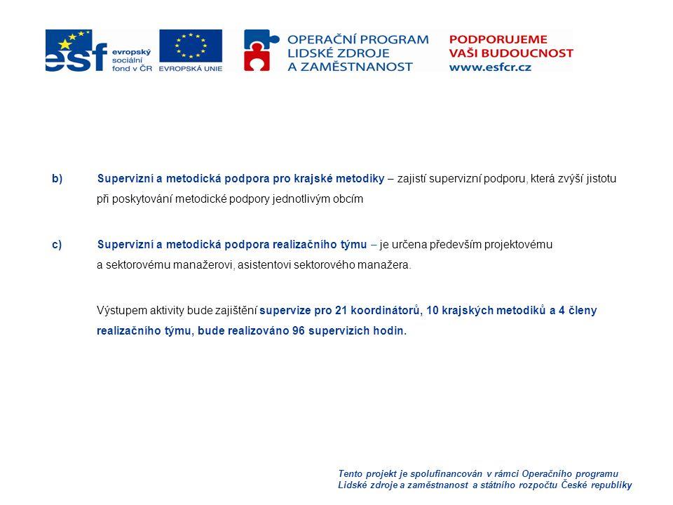 Tento projekt je spolufinancován v rámci Operačního programu Lidské zdroje a zaměstnanost a státního rozpočtu České republiky b)Supervizní a metodická podpora pro krajské metodiky – zajistí supervizní podporu, která zvýší jistotu při poskytování metodické podpory jednotlivým obcím c)Supervizní a metodická podpora realizačního týmu – je určena především projektovému a sektorovému manažerovi, asistentovi sektorového manažera.