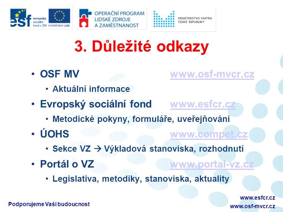 3. Důležité odkazy OSF MVwww.osf-mvcr.czwww.osf-mvcr.cz Aktuální informace Evropský sociální fondwww.esfcr.czwww.esfcr.cz Metodické pokyny, formuláře,