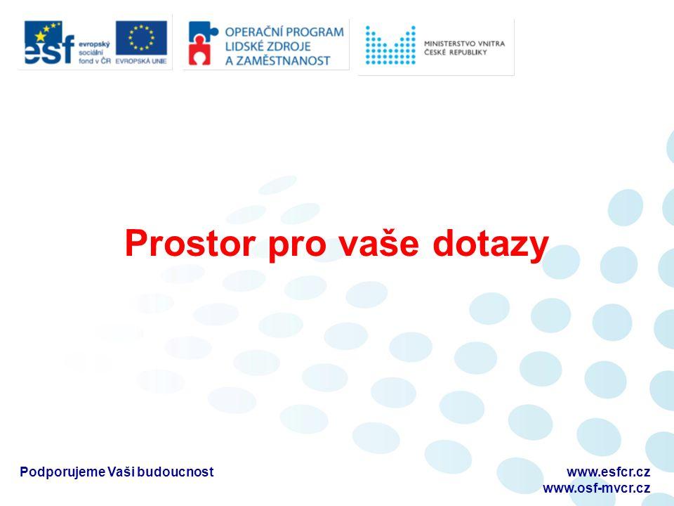 Prostor pro vaše dotazy Podporujeme Vaši budoucnostwww.esfcr.cz www.osf-mvcr.cz