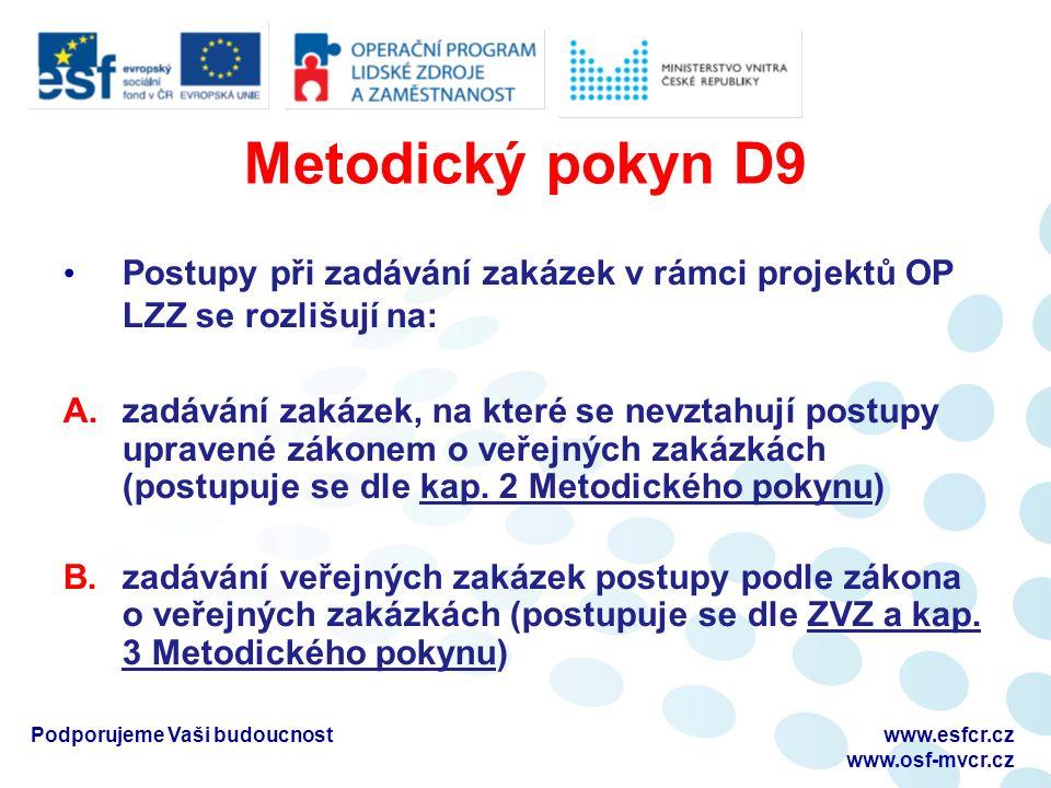 Metodický pokyn D9 Postupy při zadávání zakázek v rámci projektů OP LZZ se rozlišují na: A.zadávání zakázek, na které se nevztahují postupy upravené zákonem o veřejných zakázkách (postupuje se dle kap.