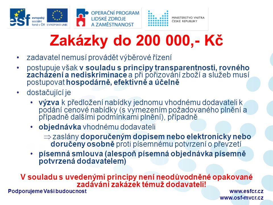 Zakázky do 200 000,- Kč zadavatel nemusí provádět výběrové řízení postupuje však v souladu s principy transparentnosti, rovného zacházení a nediskriminace a při pořizování zboží a služeb musí postupovat hospodárně, efektivně a účelně dostačující je výzva k předložení nabídky jednomu vhodnému dodavateli k podání cenové nabídky (s vymezením požadovaného plnění a případně dalšími podmínkami plnění), případně objednávka vhodnému dodavateli  zaslány doporučeným dopisem nebo elektronicky nebo doručeny osobně proti písemnému potvrzení o převzetí písemná smlouva (alespoň písemná objednávka písemně potvrzená dodavatelem) V souladu s uvedenými principy není neodůvodněné opakované zadávání zakázek témuž dodavateli.
