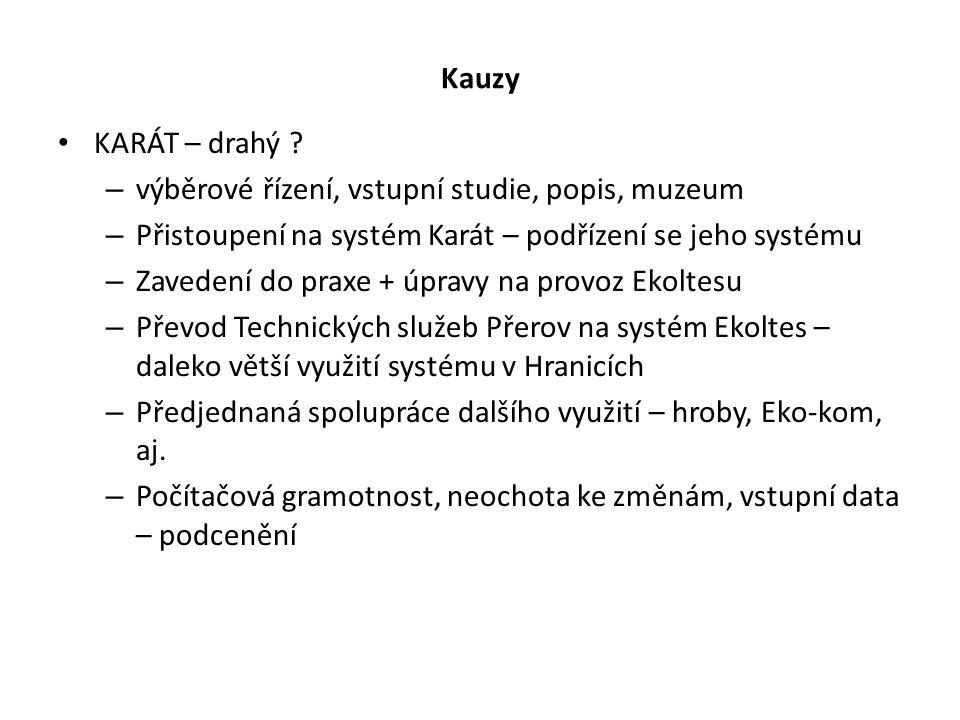 Kauzy KARÁT – drahý ? – výběrové řízení, vstupní studie, popis, muzeum – Přistoupení na systém Karát – podřízení se jeho systému – Zavedení do praxe +