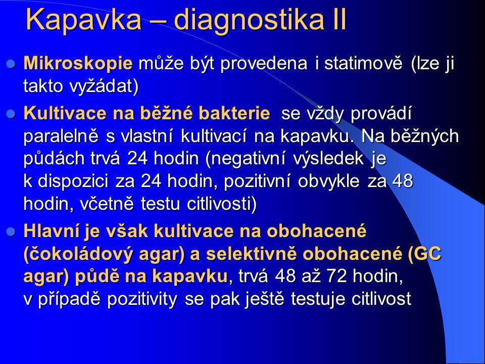 Kapavka – diagnostika II Mikroskopie může být provedena i statimově (lze ji takto vyžádat) Mikroskopie může být provedena i statimově (lze ji takto vy