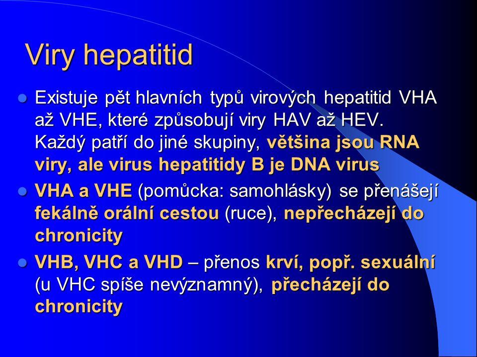 Viry hepatitid Existuje pět hlavních typů virových hepatitid VHA až VHE, které způsobují viry HAV až HEV. Každý patří do jiné skupiny, většina jsou RN