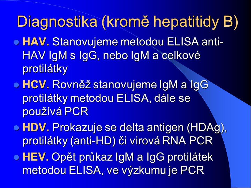 Diagnostika (kromě hepatitidy B) HAV. Stanovujeme metodou ELISA anti- HAV IgM s IgG, nebo IgM a celkové protilátky HAV. Stanovujeme metodou ELISA anti