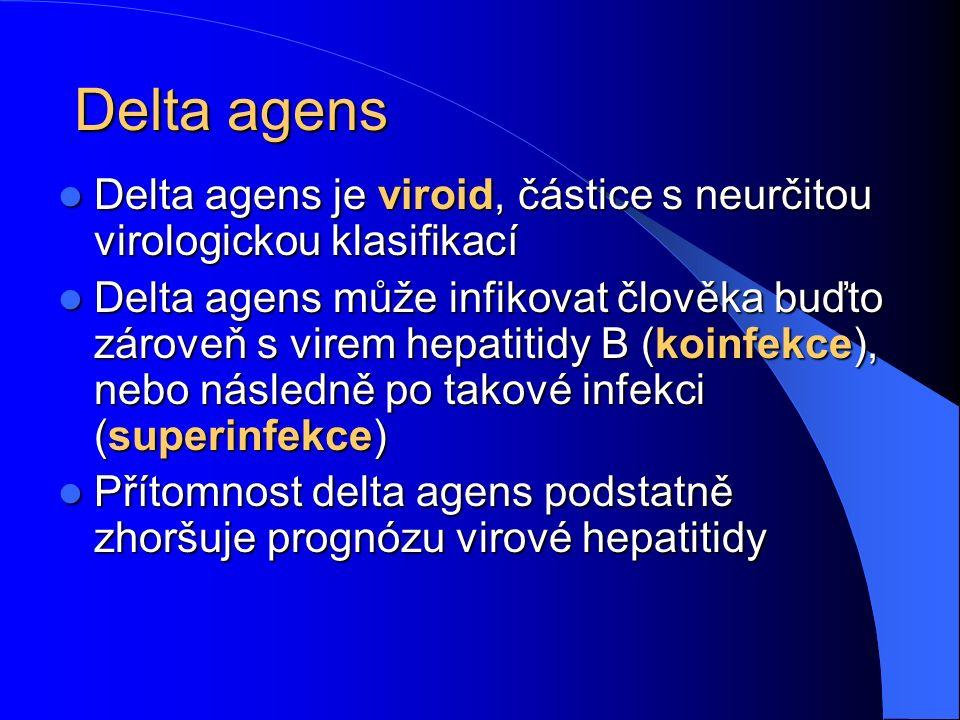 Delta agens Delta agens je viroid, částice s neurčitou virologickou klasifikací Delta agens je viroid, částice s neurčitou virologickou klasifikací Delta agens může infikovat člověka buďto zároveň s virem hepatitidy B (koinfekce), nebo následně po takové infekci (superinfekce) Delta agens může infikovat člověka buďto zároveň s virem hepatitidy B (koinfekce), nebo následně po takové infekci (superinfekce) Přítomnost delta agens podstatně zhoršuje prognózu virové hepatitidy Přítomnost delta agens podstatně zhoršuje prognózu virové hepatitidy
